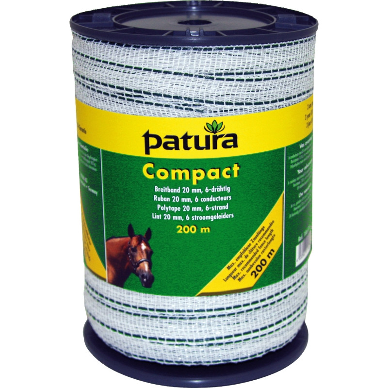 Patura compact lint 20mm wit/groen 200m of 400m rol