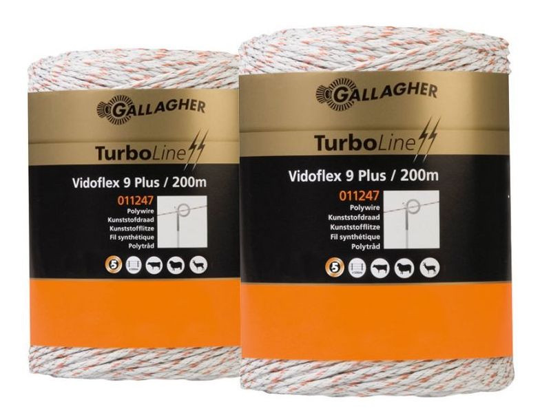 Gallagher Vidoflex 9 Turboline wit DuoPack 2x200m
