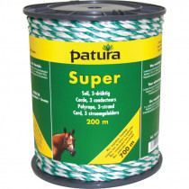 Patura super cord wit/groen, 200m rol